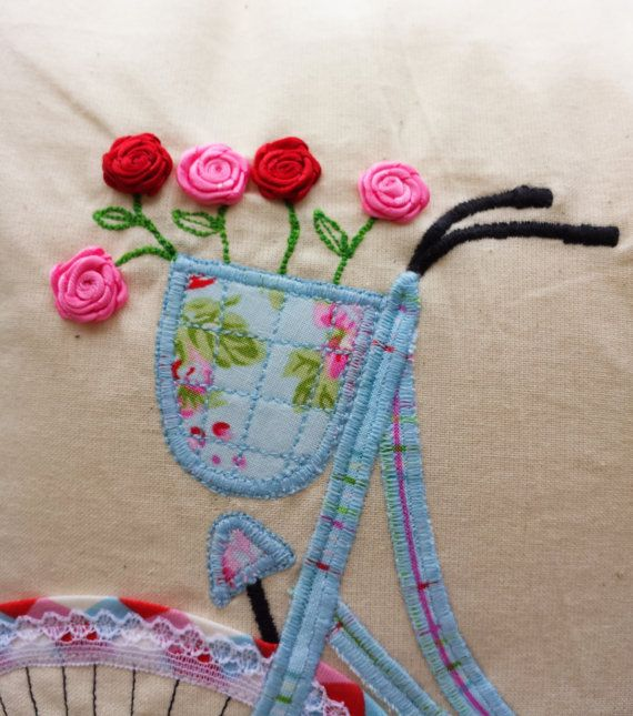 Bicycle Pillow cover, Applique Cushion, Handcrafted, Embroidered ...