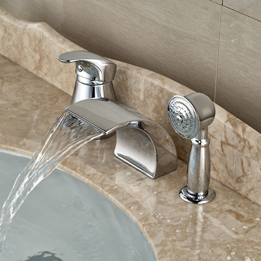 Modern Waterfall Curve Spout Roman Tub Faucet Deck Mount 3pcs ...