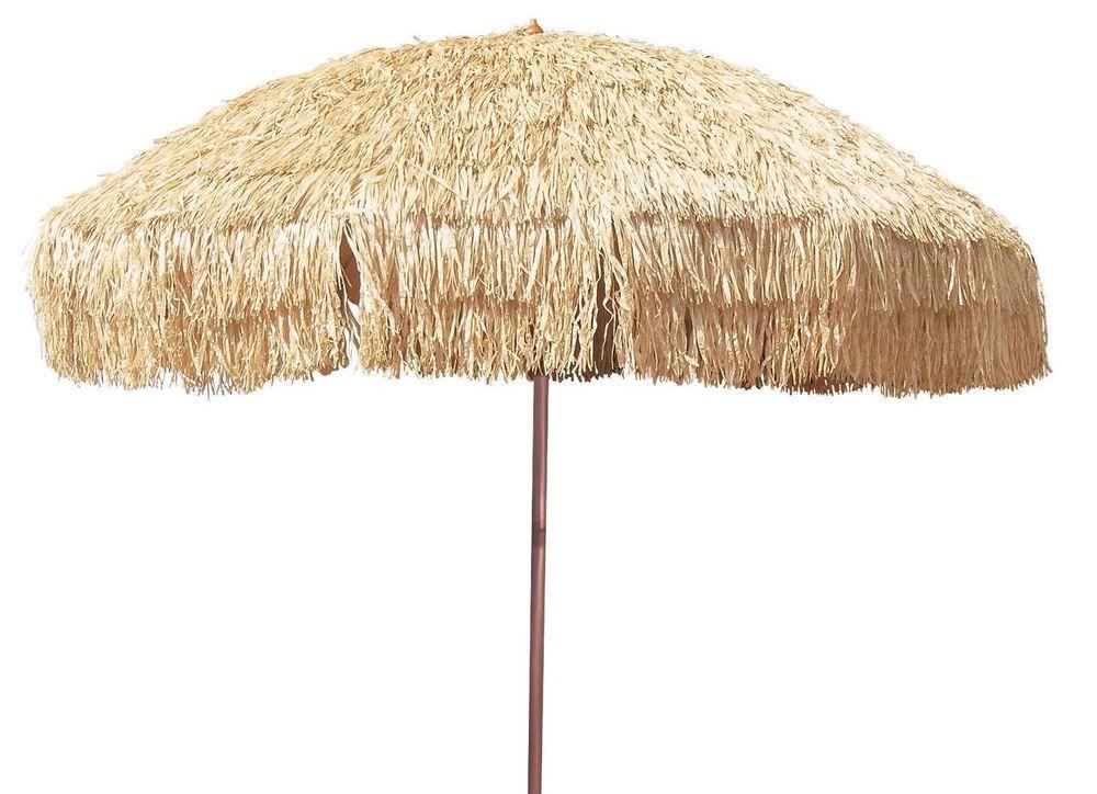 Large Outdoor Umbrella Hula Grass 8u0027 Raffia Tiki Patio Hawaiian Island  Canopy #MembersMark