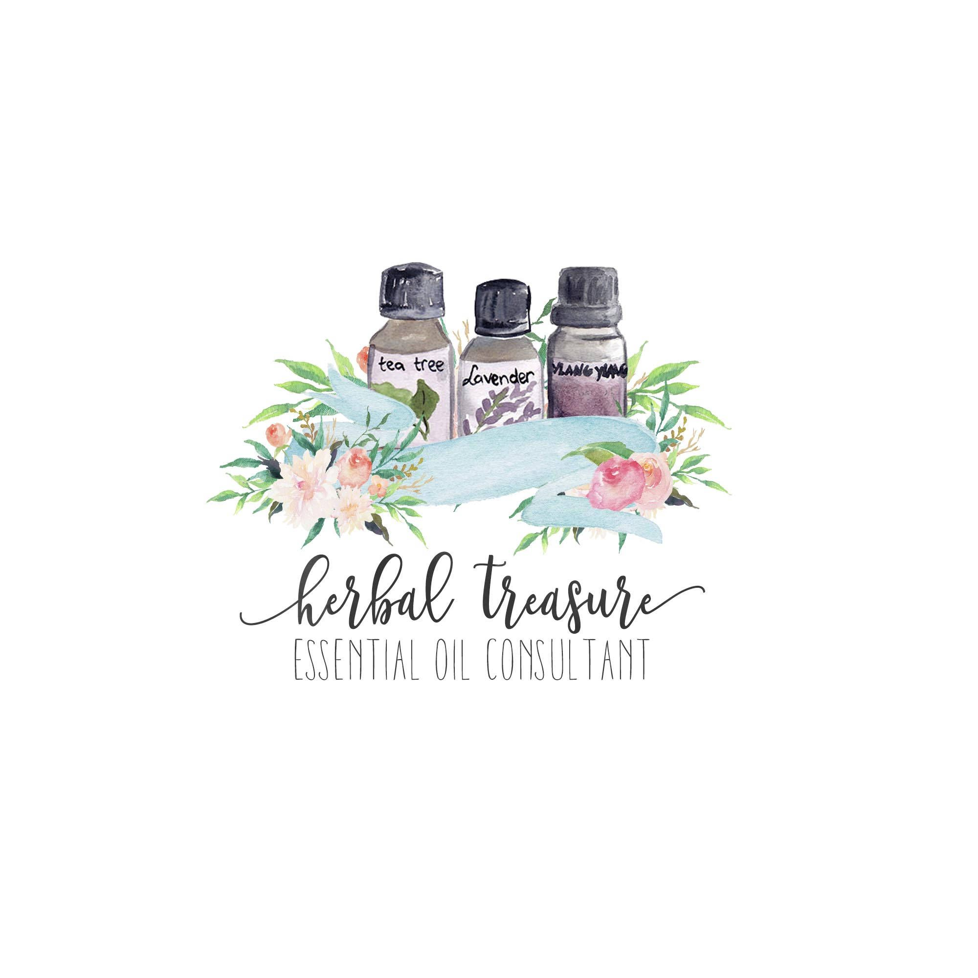 Essential Oil Logo Business Branding Watercolor Fl Consultant