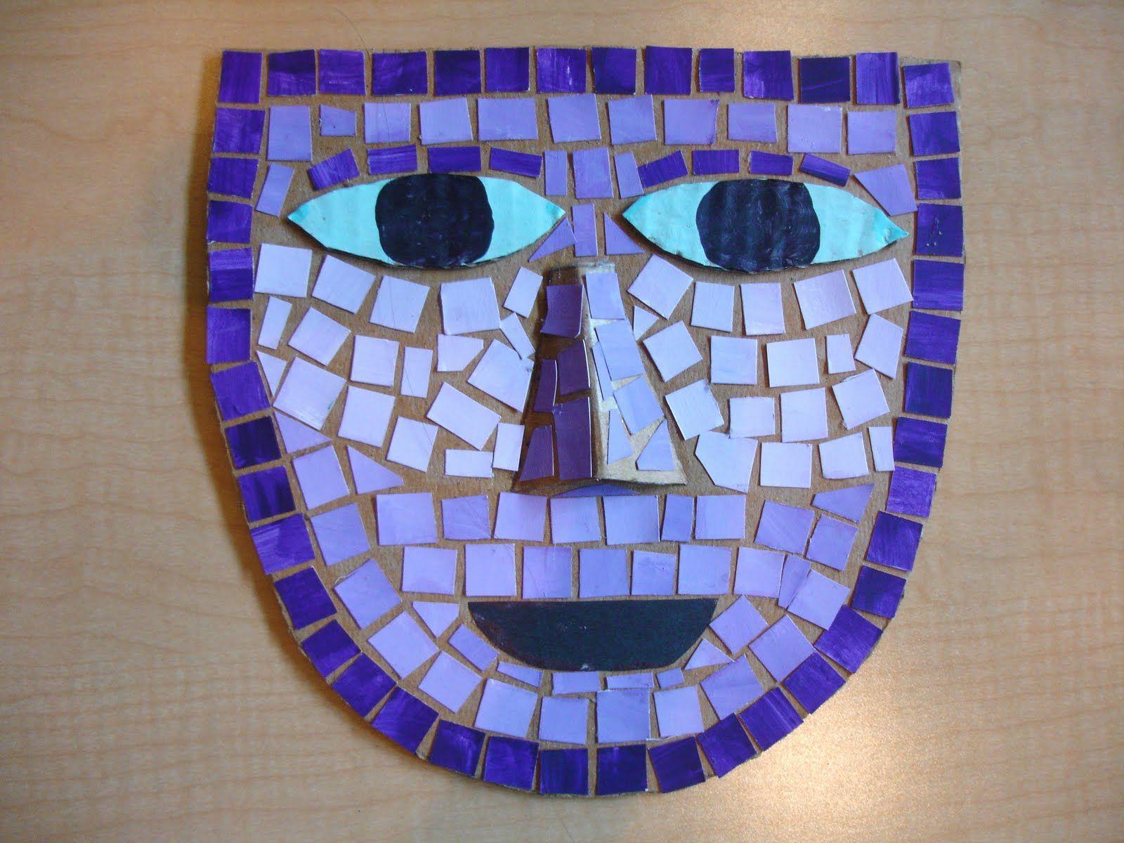 Mosaic Masks Cardboard Base Clay & 3d Bildkonst