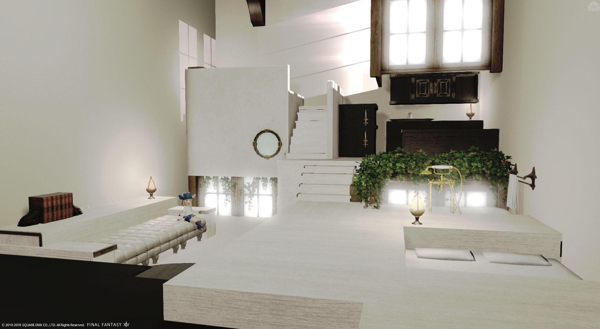 ララフェル用のスキップフロアのアパルトメントです 1階は寝室 リビング お風呂です スキップフロア2階はキッチンです スキップフロア3階は2畳の和室です 家具等はツイッターにて掲載しております アパルトメント ララフェル インテリア