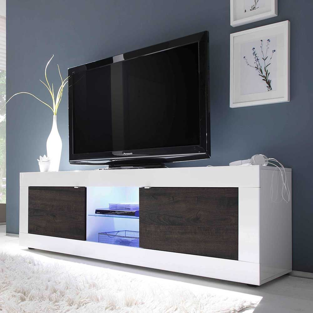 tv board in wei hochglanz wenge led beleuchtung jetzt. Black Bedroom Furniture Sets. Home Design Ideas