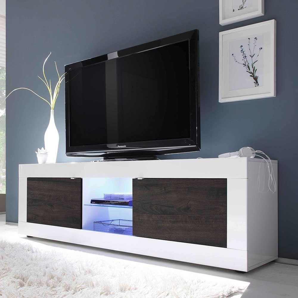 Lowboard weiß hochglanz led  TV Board in Weiß Hochglanz Wenge LED Beleuchtung Jetzt bestellen ...