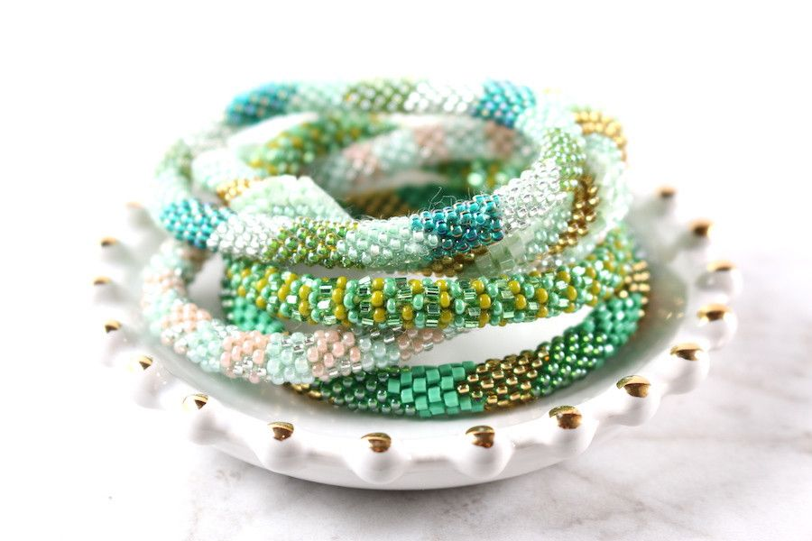 These Beautiful Gl Beaded Bracelets Were Handmade By Women In The Kathmandu Valley Of Nepal Each Bracelet Is With Beads And Crochet On A