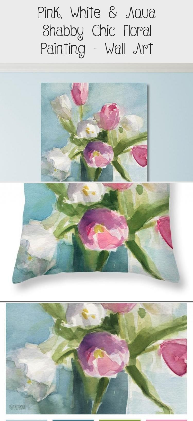 Pink White Aqua Shabby Chic Floral Painting Wall Art Bool Pins Aqua Art Bool Chic Floral P In 2020 Floral Wall Art Painting Floral Painting Floral Wall Art