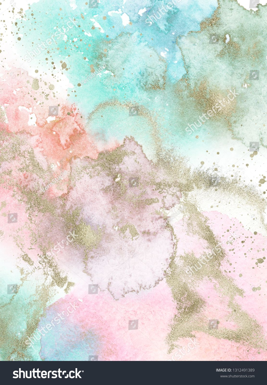 Gold Pink White Blue And Turquoise Watercolor Texture Design