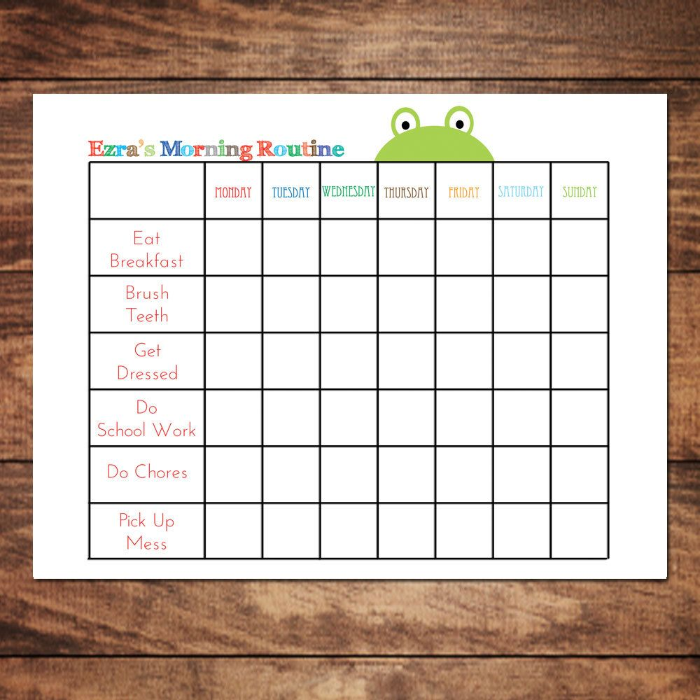This is an image of Influential Free Printable Morning Routine Charts With Pictures