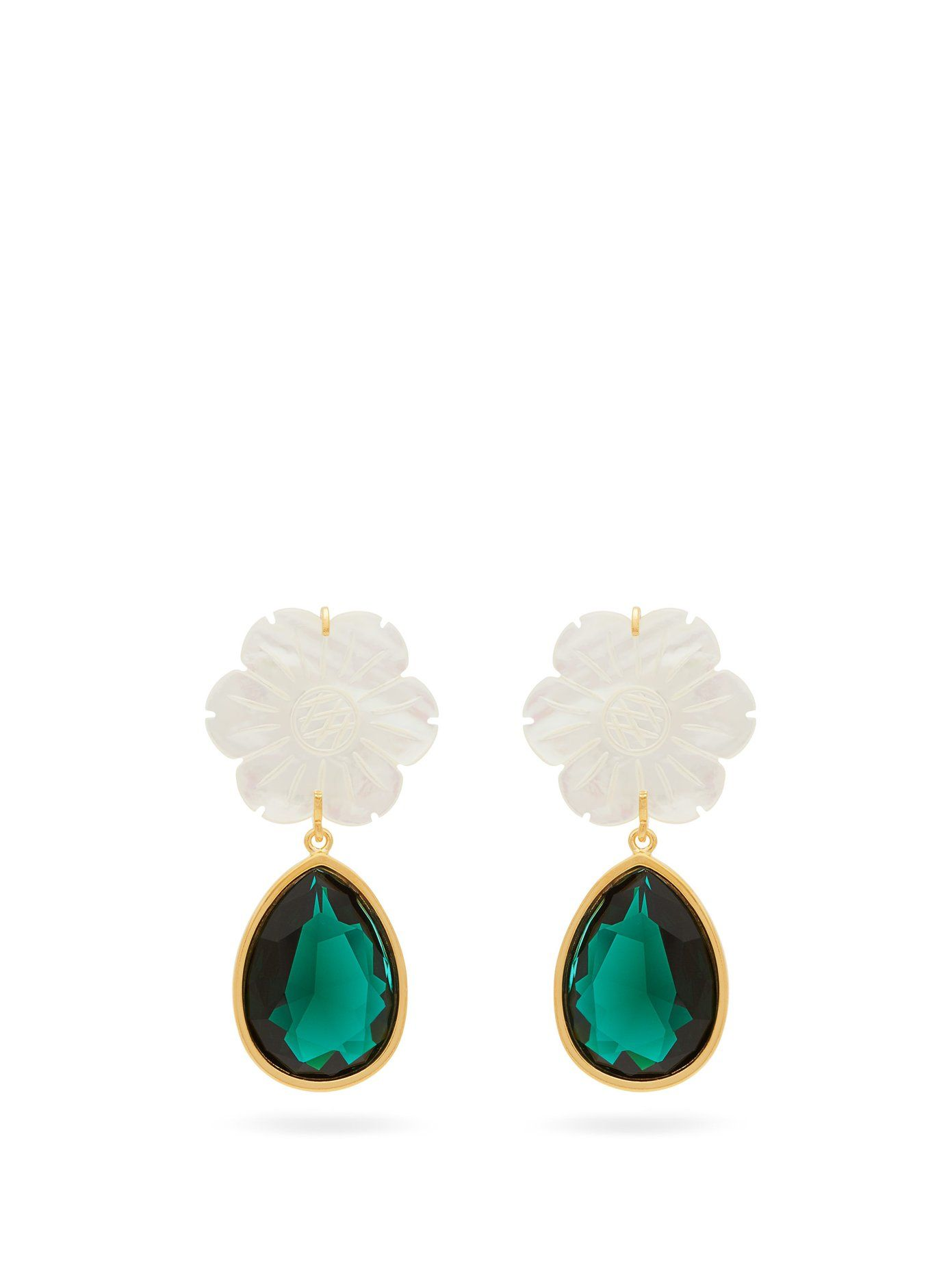 d990c1fcd Lily pad crystal drop earrings   Lizzie Fortunato   MATCHESFASHION.COM UK