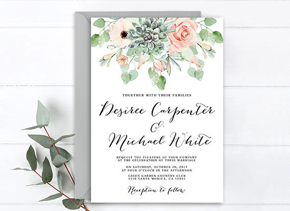 Fl Succulent Wedding Invitation And Roses Boho Chic Anemone Rustic