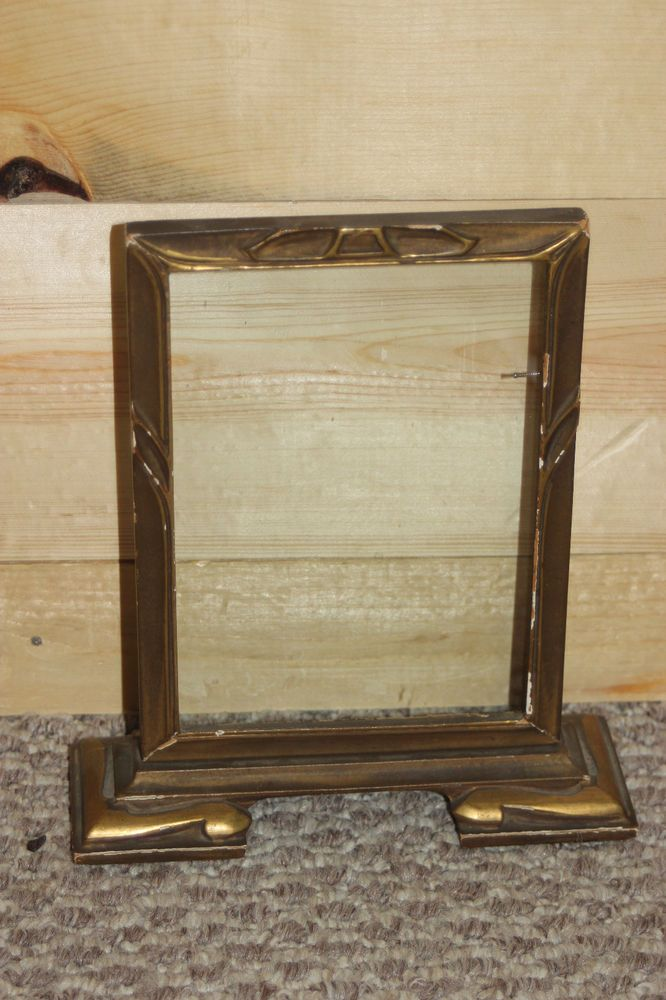 Vintage Wood Swivel Picture Frame Silver Painted Carved Fits 6\