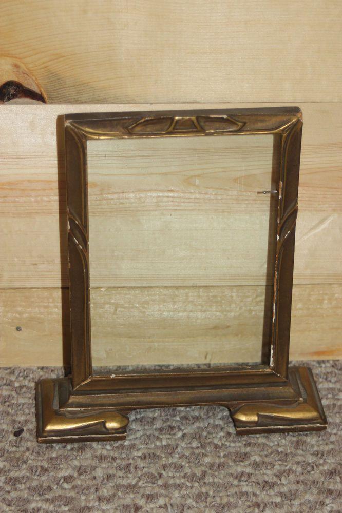 Vintage Wood Wooden Art Deco Gold Gilt Picture Frame 5x7 Table