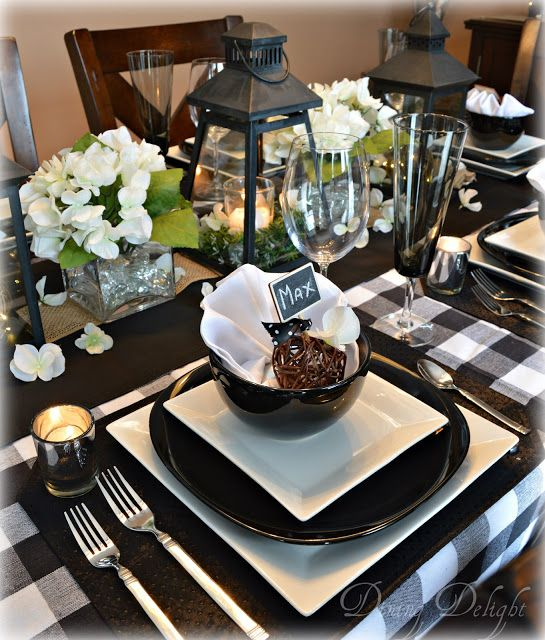 Black Lanterns Amp Buffalo Check Tablescape Thanksgiving