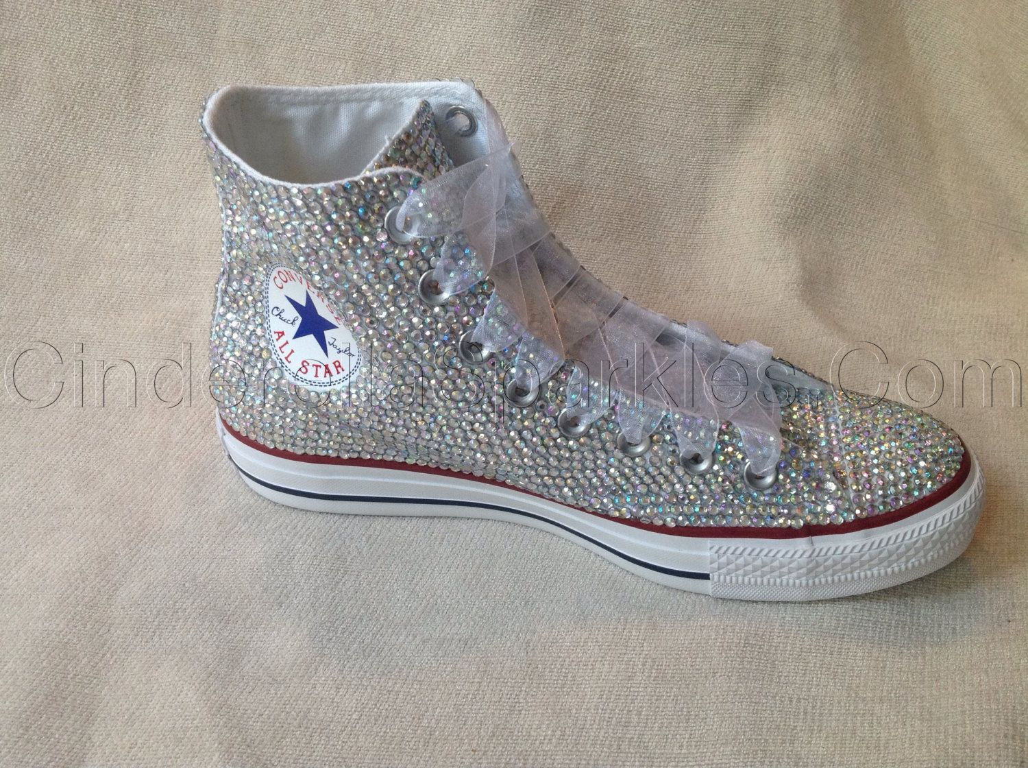 White Chuck Taylor High Top Crystal by CinderellaSparkles11 3fa2a08f67