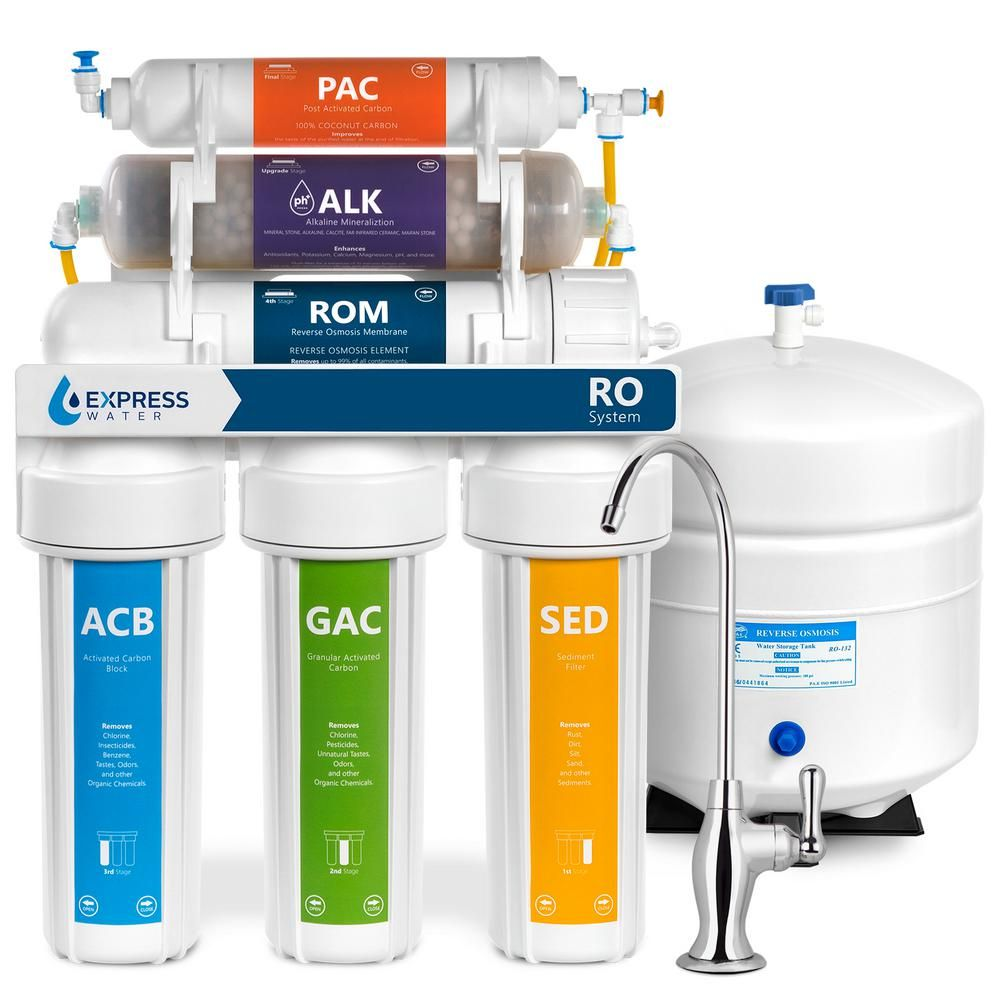 Express Water Alkaline Under Sink Reverse Osmosis Water Filtration System 10 Stage Mineralizer Ph Mineral Antioxidant 50 Gpd Roalk5d Under Sink Water Filter Reverse Osmosis Water Water Filtration System
