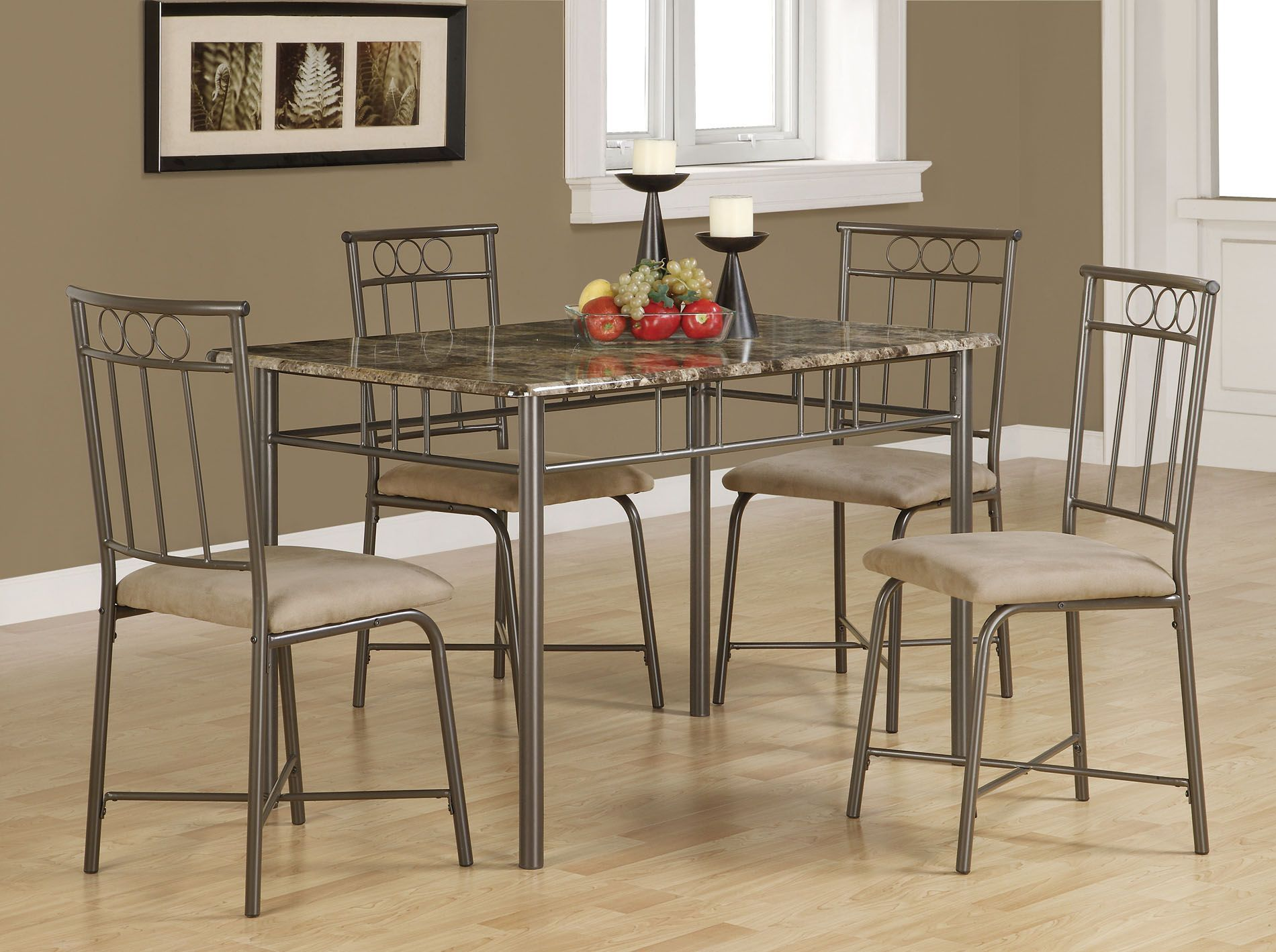 Create A Contemporary Atmosphere In Your Dining Room With This Bronze  Five Piece Dining Set. The Modern Cappuccino Colored Chairs Provide Raised  Seating For ...