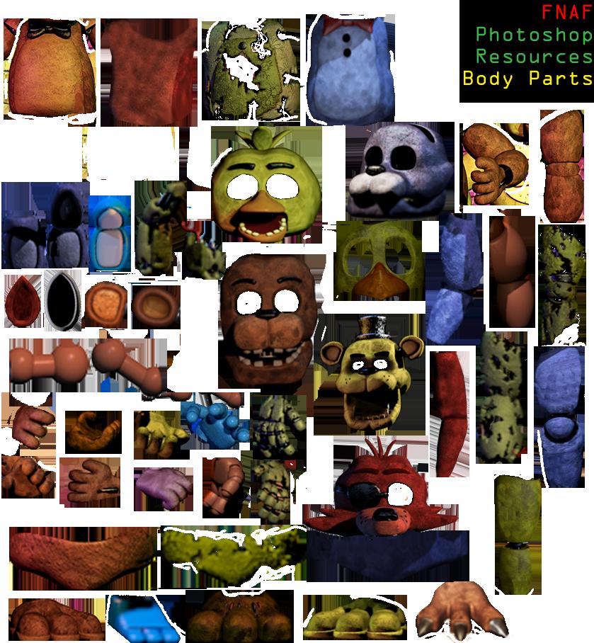 fnaf photoshop resources final update body parts by dangerdude991