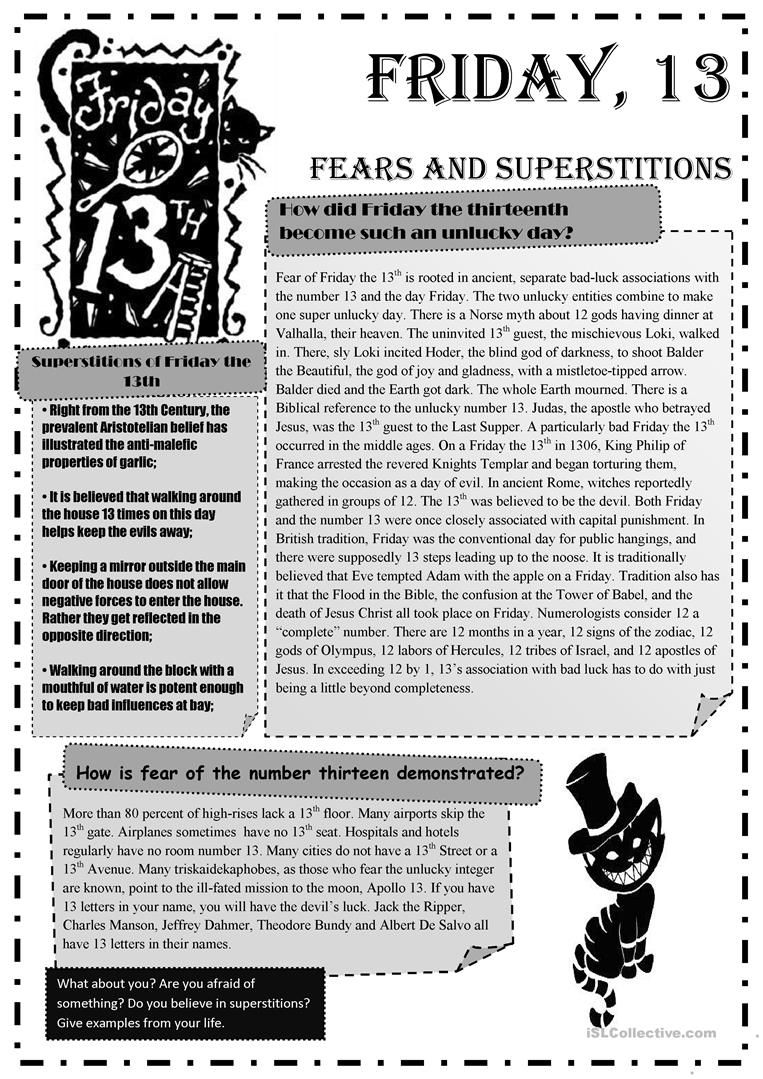 Friday 13th Fears and Superstitions worksheet - Free ESL printable ...