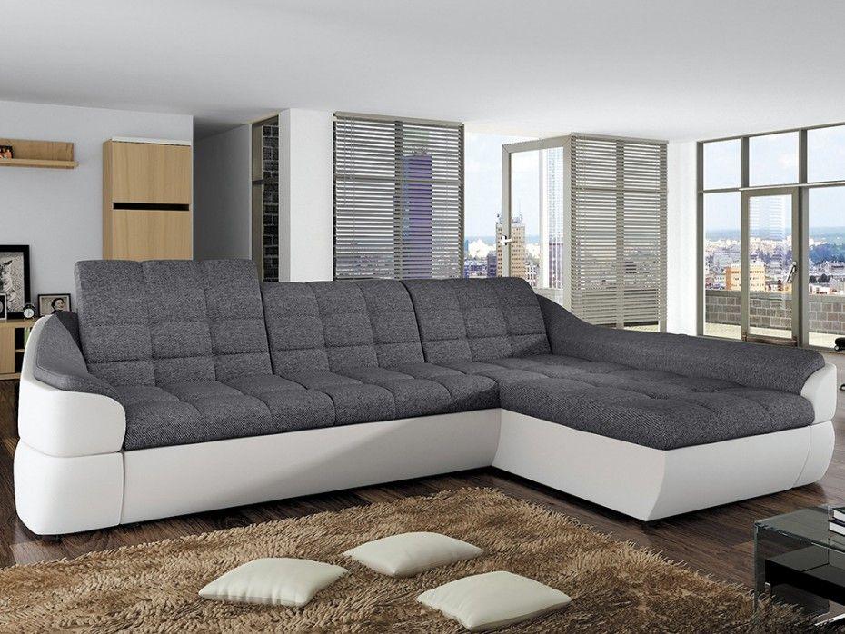 Canapé d\'angle droit FAREZ pas cher en tissu et simili gris/blanc ...