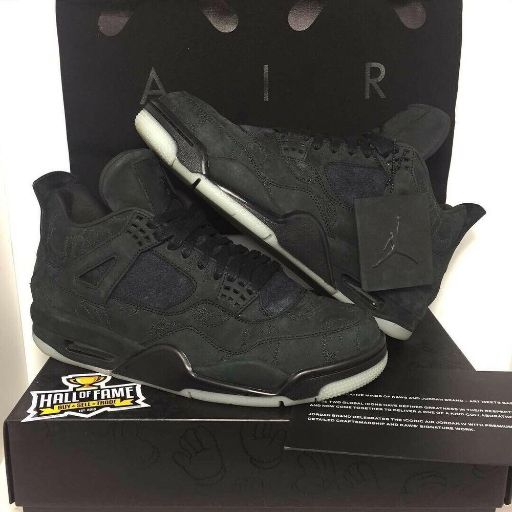 "bc53f5956d67af Nike Air Jordan IV 4 Retro ""KAWS"" Black Suede ""EXCLUSIVE SAMPLE PAIR"" (Size  9)  shoes  kicks  sneakers"
