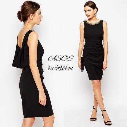 ASOS ドレス-ミニ・ミディアム ★ASOS★☆Lipsy☆バックドレープがエレガントなシフトドレス♪