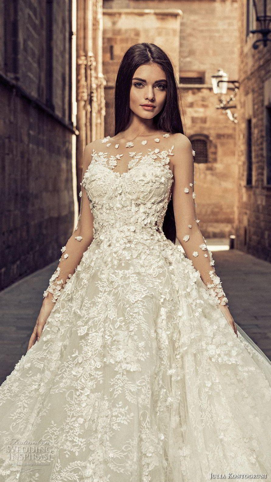 Wedding dress long sleeve  julia kontogruni  bridal long sleeves illuson bateau sweetheart
