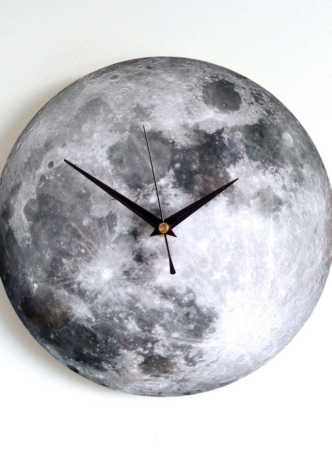 Moon Wall Clock Decoupage Photo Clock Space Clock Black And