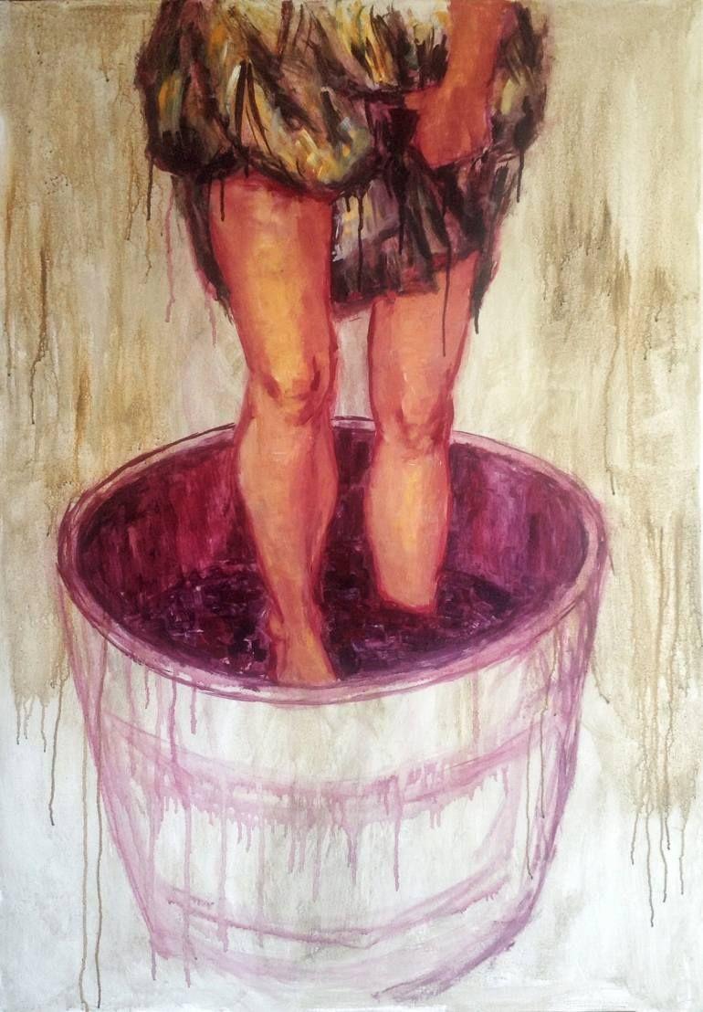 Saatchi Art Artist Katarzyna Chlipalska Painting Grape Stomping Art Portrait Legs Acrylic Orange Magenta Green Painting Wine Tasting Room Ideas Art