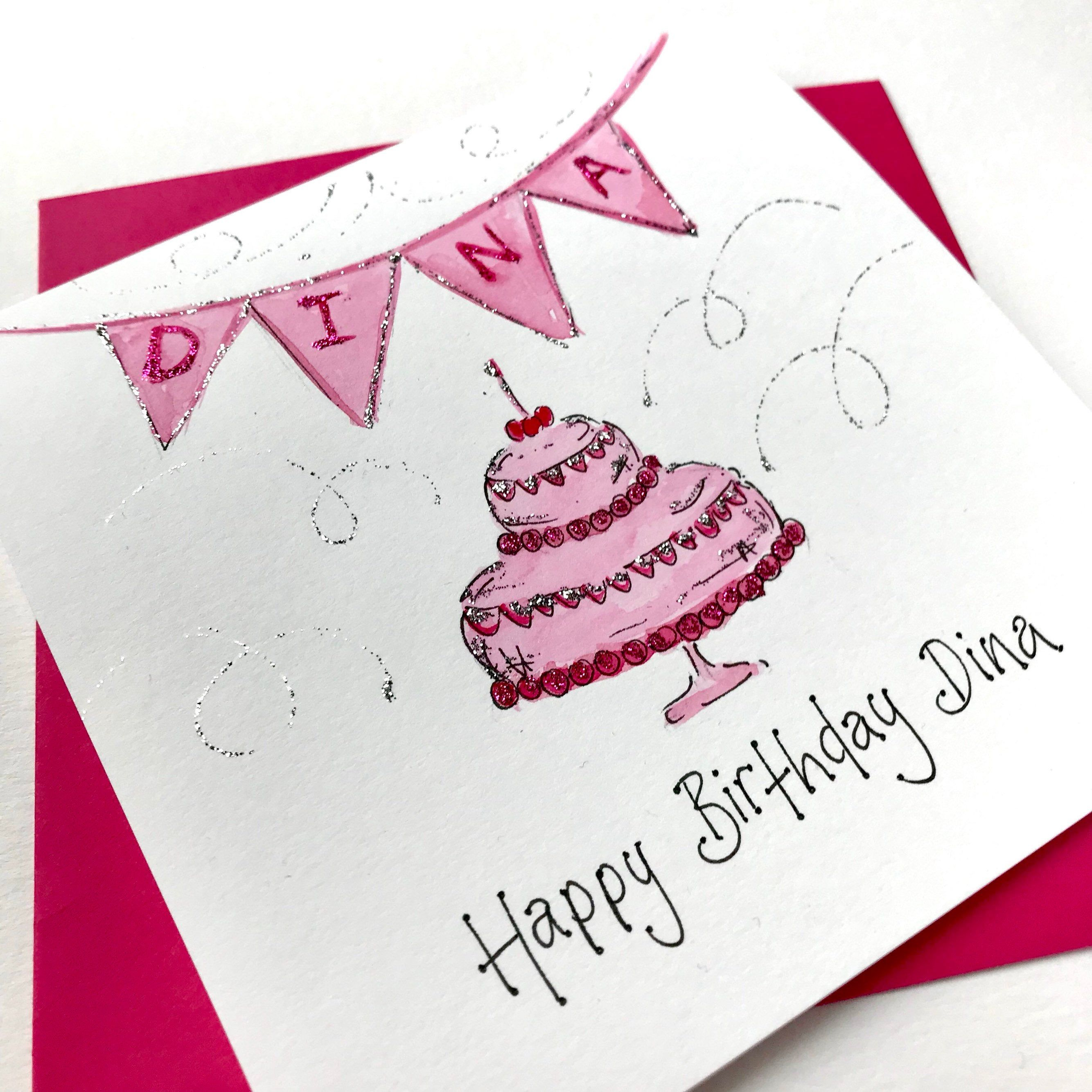 Pink Happy Birthday Card With Bunting Watercolour Original Etsy Happy Birthday Cards Cards Beautiful Birthday Cards