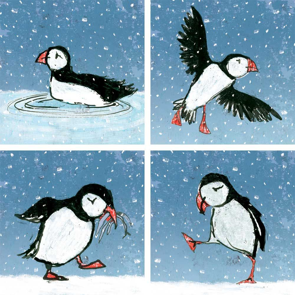 Jolly Puffins In The Snow Christmas Cards
