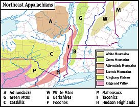 Map Of The Main Regions Of The Northeast Appalachians Wikipedia - Map of mountain ranges in the united states