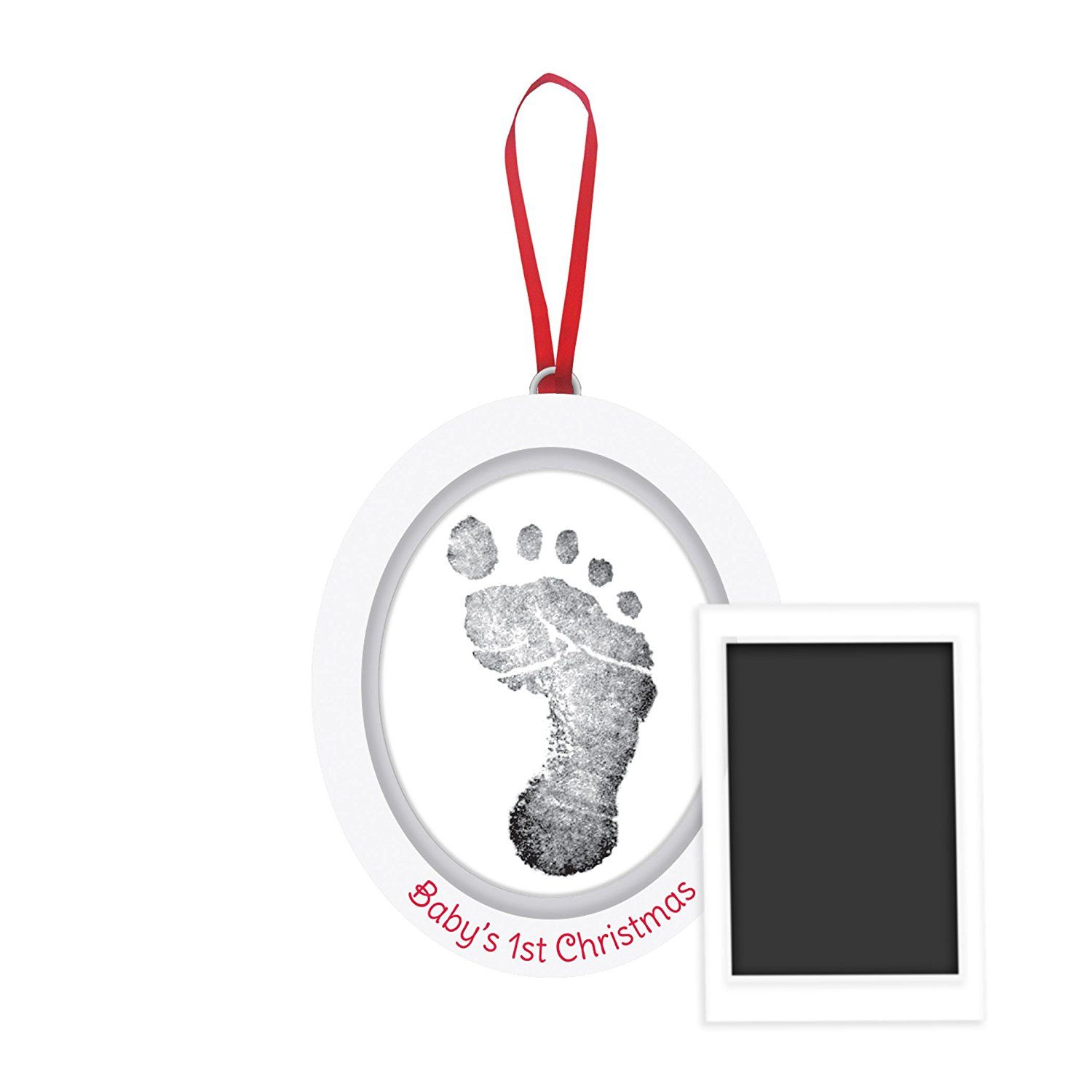 Pearhead Babyprints Newborn Baby Handprint Or Footprint Christmas Frame with Clean Touch Ink Pad Red Makes A Perfect Holiday Gift