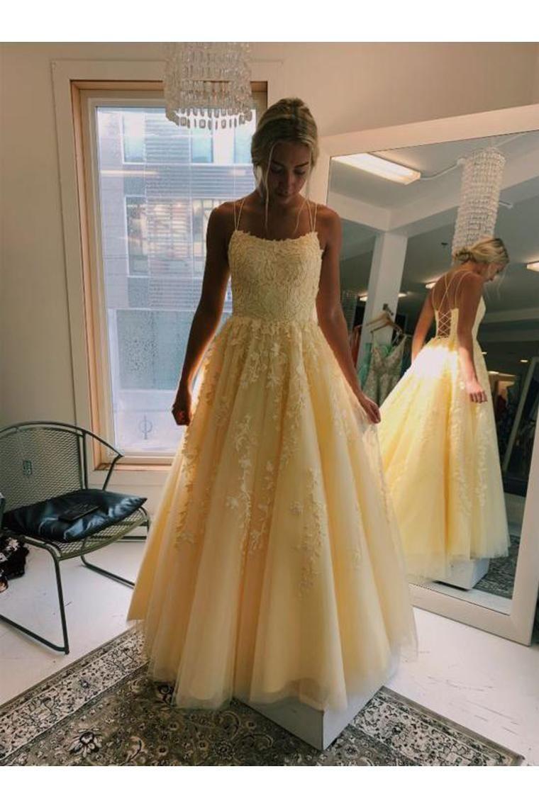 Narciso con cuello en V una línea de tul largos vestidos de baile con apliques US$ 229.00 VTOP6ZD2MEP – VestidoBello.com