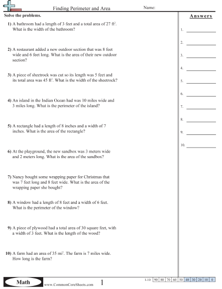 Area And Perimeter Problem Solving Worksheets - Laptuoso