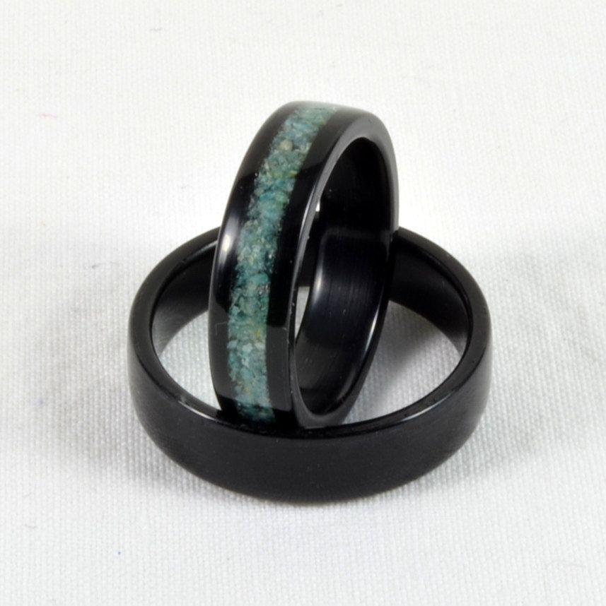 Wood Wedding Ring Set Amazonite Gemstone Inlay in Pear Bentwood