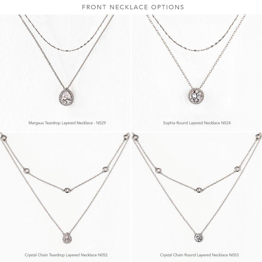 3d1d70d78 Bridal Silver Back Necklace | Back Pendant Drop Wedding Jewelry Set – AMY O  Bridal