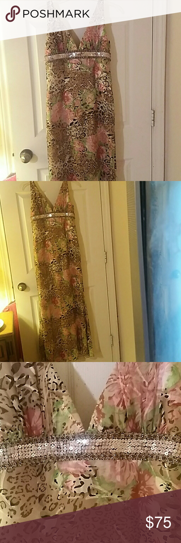 lovely maxi gown beautiful silk gown. It is tan ,light rose, green,black, brown and cream. It has silver sequins,  ruby stones and rose beads. It has an excellent built in bra. From shoulder to hem is 58 in. hips are 19 in and bust is 17 in. I ACCEPT ALL REASONABLE OFFERS. I GIVE 20% ON BUNDLES La Femme Dresses Maxi