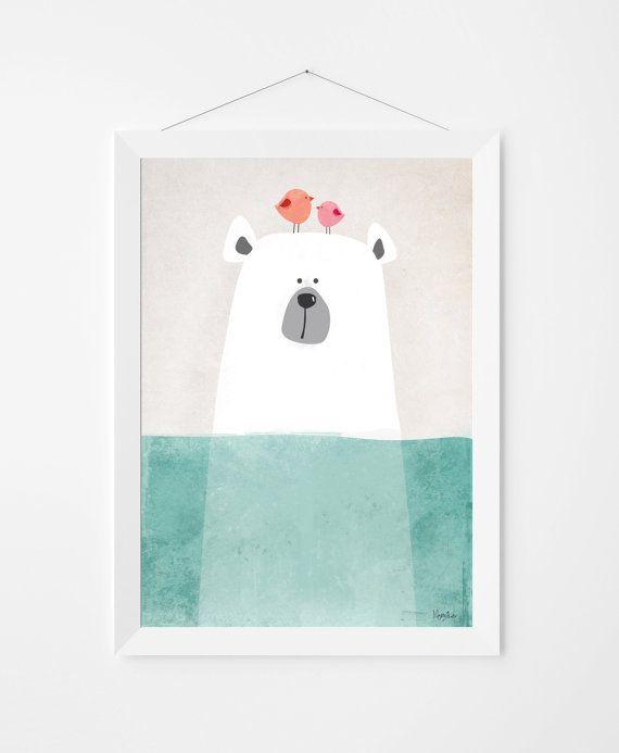 Illustration affiche art avec ours mignon pour décorer une chambre