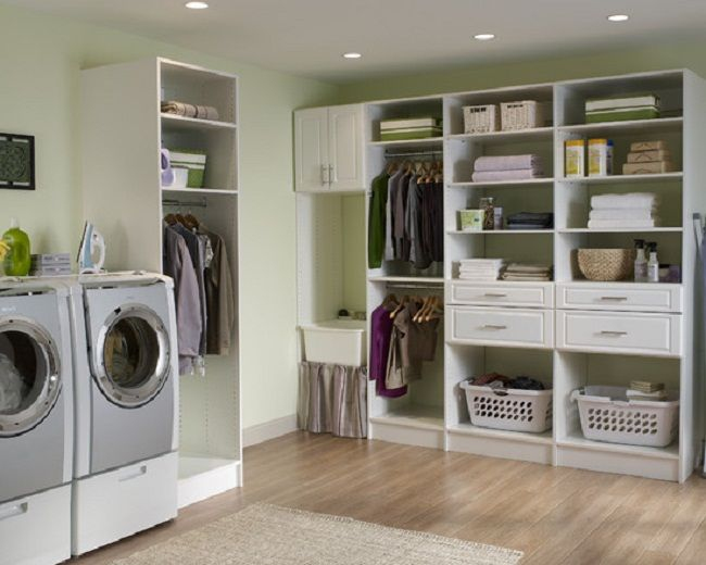 Marvelous Laundry Room Closet Organization Ideas Part - 14: Laundry Room Organization Ideas For Small Space : Simple Laundry Room  Organization Ideas Simple Closet Wooden Floor Hidden Lamps Soft Green Wall
