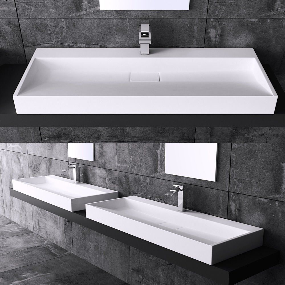 Durovin Bathrooms Wash Basin Sink Solid Stone Countertop Mounted 800mm and Waste