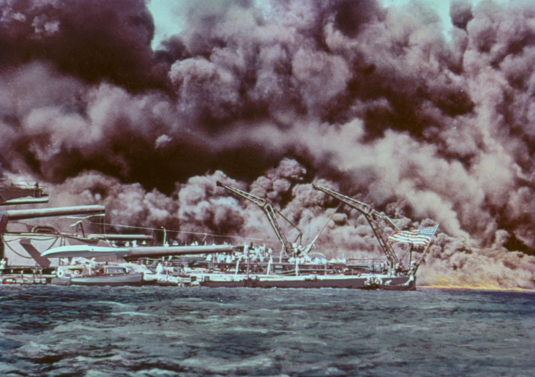 Vintage Dec. 7, 1941: U.S.S. Maryland during attack at Pearl Harbor, on Oahu.