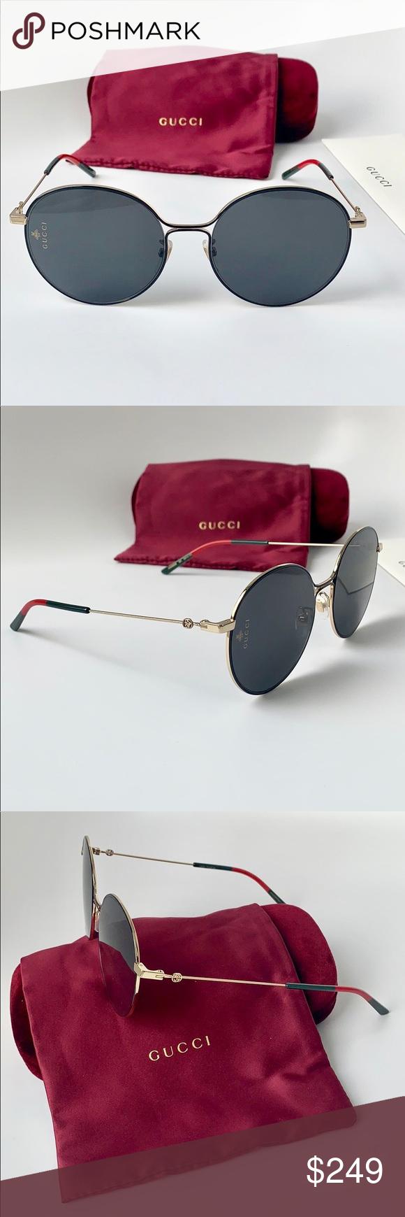 e26194ff3 Gucci Women Sunglasses GG0395SK-001 Gold/Grey Gucci Women Sunglasses Round  Metal GG0395SK-