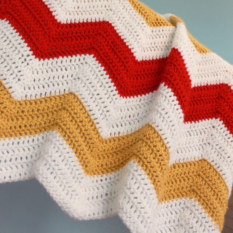 Patrón de crochet - Manta Chevron   Tejido   Pinterest   Patrones de ...