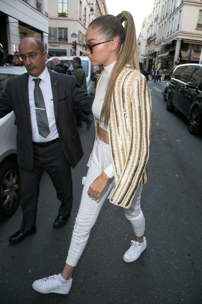41 Times Gigi Hadid Proved Sneakers Were Way Hotter Than High Heels. Gold  BlazerGigi Hadid StyleAdidas SuperstarAdidas ...