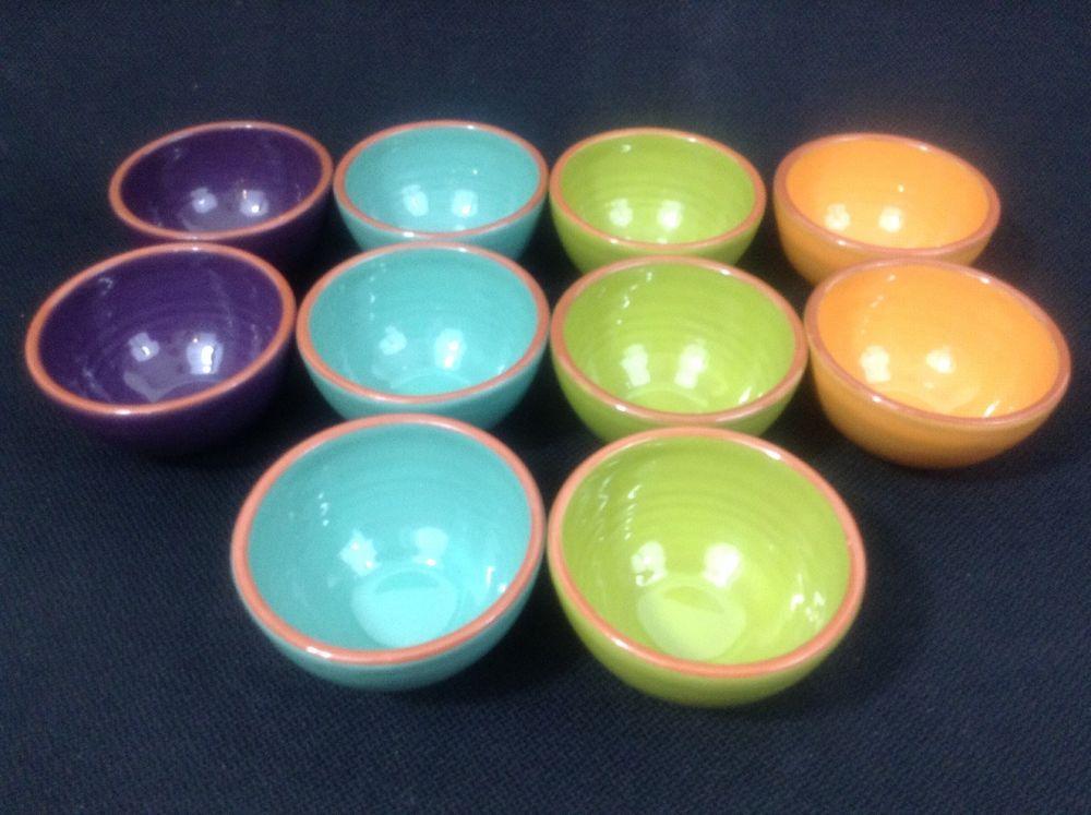 Bobby Flay Plancha TEN Sauce Dip Bowls Turquoise Green Orange Purple & Bobby Flay Plancha TEN Sauce Dip Bowls Turquoise Green Orange ...