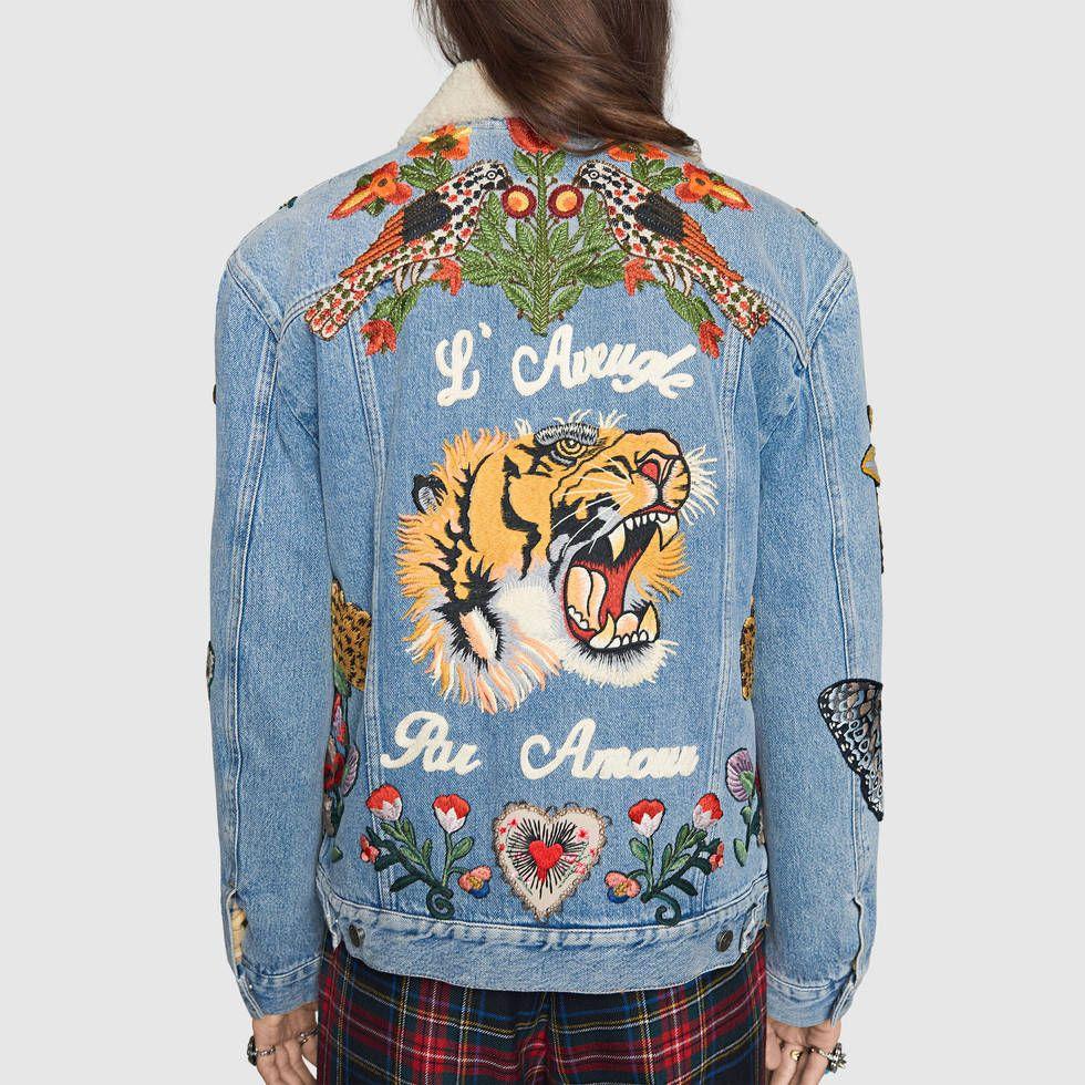 design de qualité 90ca8 4bf57 Veste en jean avec broderies | Gucci | Embroidered denim ...