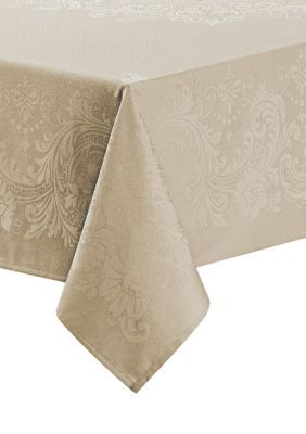 Waterford Celeste Oblong Tablecloth Taupe 70 X 104 Oblong