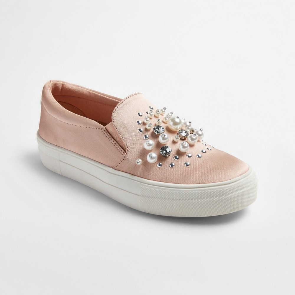 51f942736c8 Women s Raquel Slip On Satin Sneakers with Embellished Stones and Pearls -  Mossimo Supply Co.