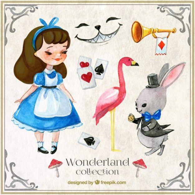 Baixe Aquarela Alice No Pais Das Maravilhas Personagens E