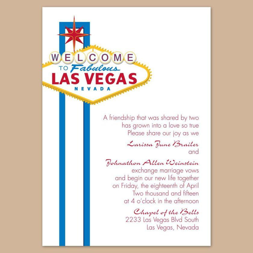 Las Vegas Wedding Invitation Wording: Las Vegas Wedding Announcement Wording